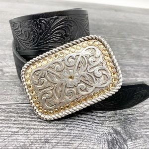 Justin silver boho leather buckle belt
